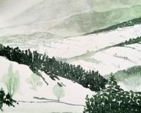 Beskidy zimą 2, akwarela A4, papier Fabriano, farby Karmański