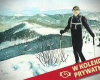 Na nartach w Beskidach - akwarela