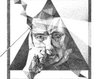 Autoportret, 20x20cm, cienkopisy